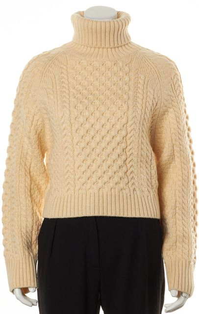 APIECE APART Ivory Wool Chunky Cable Knit Long Sleeve Turtleneck Sweater