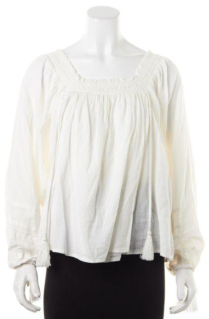 APIECE APART White Cotton Tassel Long Sleeve Peasant Blouse