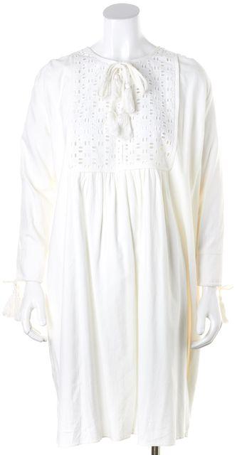 APIECE APART White Long Sleeve Salina Contrast Yoke Shift Dress
