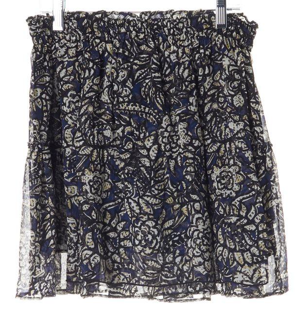 APIECE APART Navy Blue Beige Abstract Silk Mini Skirt