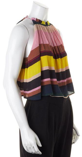 APIECE APART Pink Multicolor Striped Silk Blouse