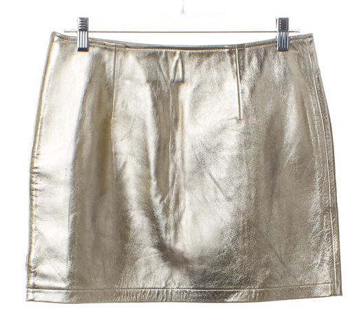 A.P.C. Metallic Gold Leather Mini Zip Skirt Size 6 FR 38