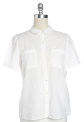 A.P.C. White Textured Polka Dot Button Down Cotton Shirt