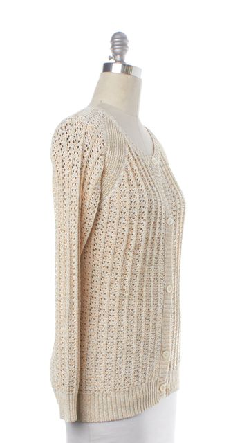 A.P.C. Ivory Gold Knit Cardigan Sweater