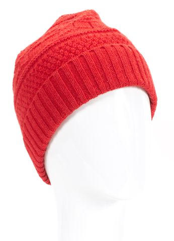 A.P.C. Red Wool Knit Beanie Hat