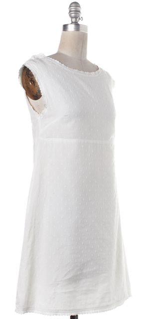 A.P.C. Ivory Embroidered Cotton Sleeveless A-Line Dress