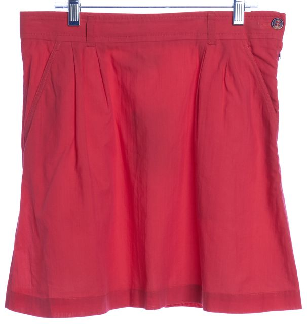 A.P.C. Red Pleated A-Line Mini Skirt