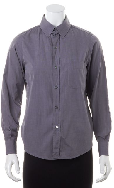 A.P.C. Gray Cotton Long Sleeve Button Down Shirt Top
