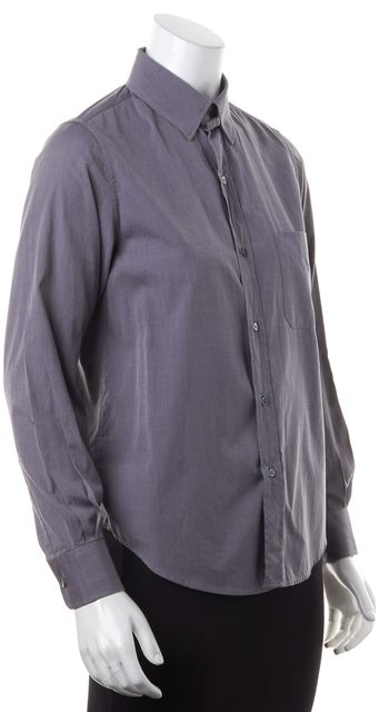 A.P.C. Gray Cotton Long Sleeve Button Down Shirt Top