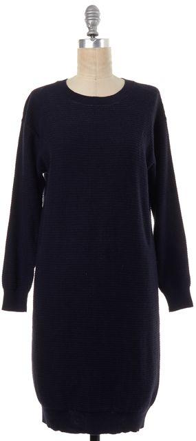 A.P.C. Navy Blue Silk Knit Sweater Dress