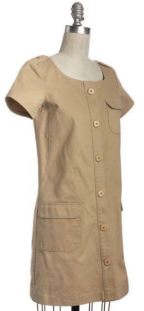A.P.C. Beige Button Down Cap Sleeve Dress