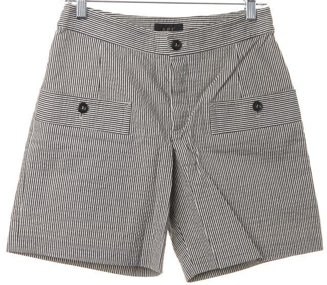 A.P.C. Ivory Black Striped Casual Button Pocket Dress MInI Shorts