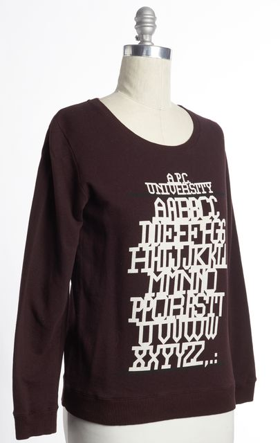 A.P.C. Maroon Purple Alphabet Graphic Crewneck Sweater