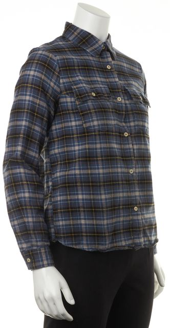 A.P.C. Blue Yellow Plaid Cotton Long Sleeve Button Down Shirt Top