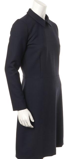 A.P.C. Navy Blue Collared Long Sleeve Classic Sheath Dress