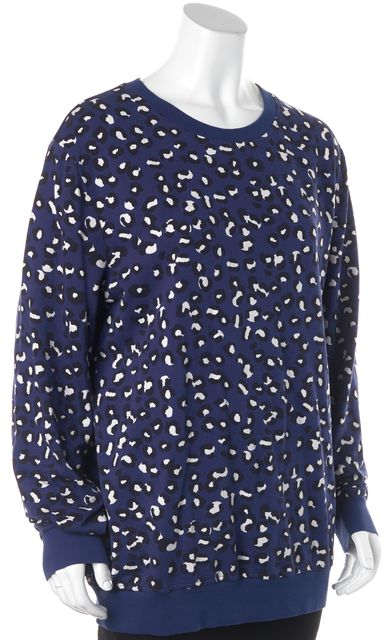 A.P.C. Blue Black White Abstract Print Casual Crewneck Relaxed Fit Sweater