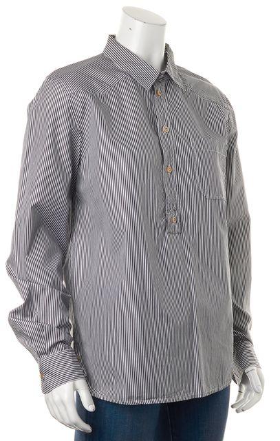 A.P.C. Gray White Striped Cotton Long Sleeve Half Button Blouse