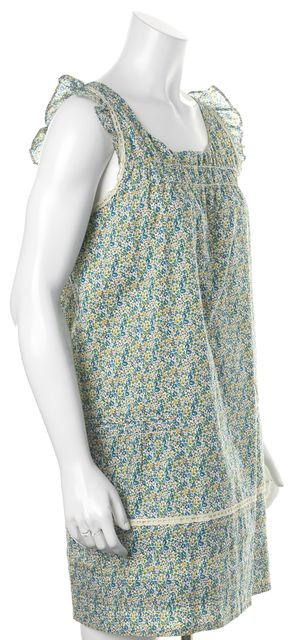 A.P.C. Green Blue Red Floral Cotton Sleeveless Above Knee Shift Dress