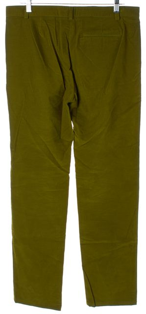 A.P.C. Green Cotton Slim Straight Leg Corduroys Pants