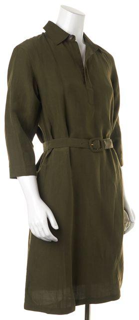 A.P.C. Olive Green Linen Shirt Dress