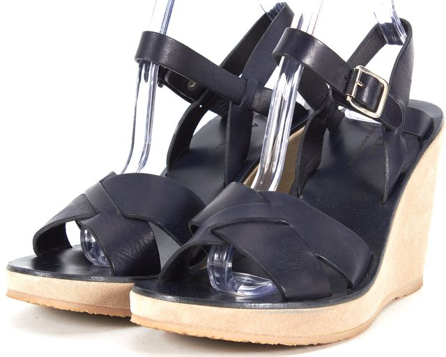 A.P.C. Navy Blue Leather Wedges Sandals
