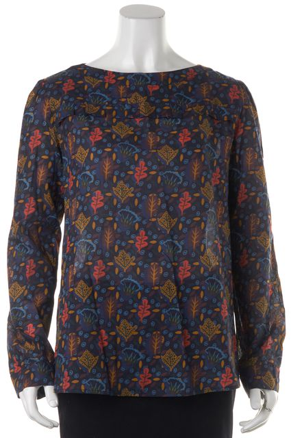 A.P.C. Blue Leaf Autumn Abstract Long Sleeve Cotton Blouse Top