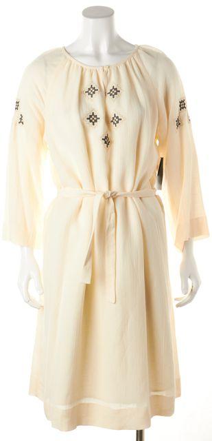 A.P.C. Ivory Blue Gold Embroidered Midi Blouson Dress
