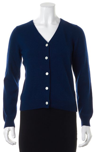 A.P.C. Navy Blue Wool Cashmere Button Front Cardigan
