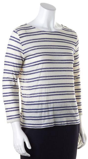 A.P.C. Ivory Navy Blue Striped Long Sleeve Sheer Linen Cotton Knit Top