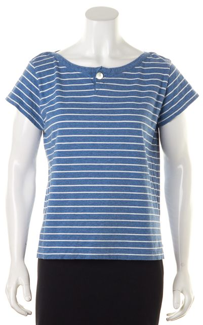 A.P.C. Blue White Striped Cotton Short Sleeve Basic T-Shirt