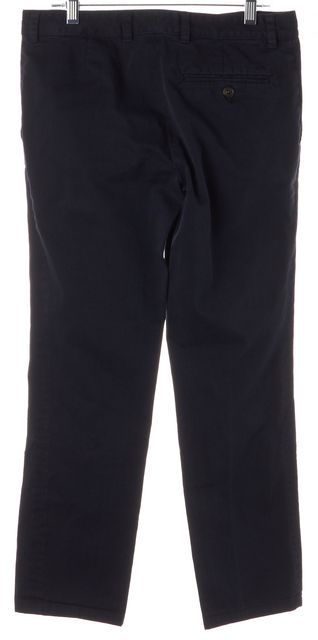 A.P.C. Navy Blue Cotton Cropped Slim Leg Trousers Pants
