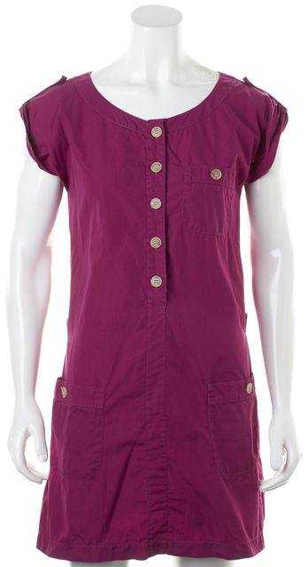 A.P.C. Purple Cotton Short Sleeve Casual Mini Shirt Dress
