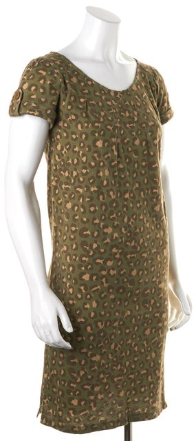 A.P.C. Green Leopard Print Knee-Length Short Sleeve T-Shirt Shift Dress