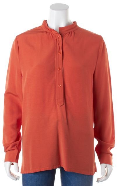 A.P.C. Orange Half Button Down Long Sleeve Blouse Top