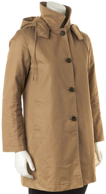 A.P.C. Camel Brown Wool Button Front Hooded Mac Trench Coat