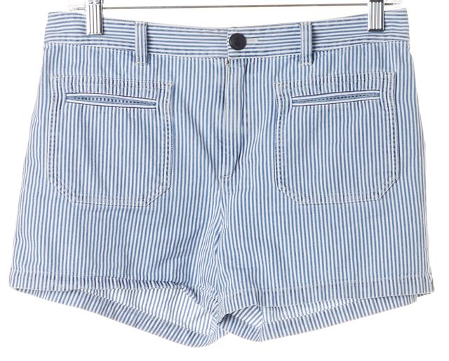 A.P.C. Blue White Striped Cotton Nautical Shorts