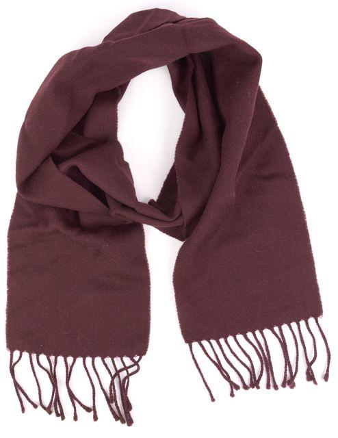 A.P.C. Burgundy Wool Fringe Trim Scarf