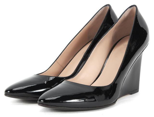 AQUATALIA Black Patent Leather Almond Toe Wedges