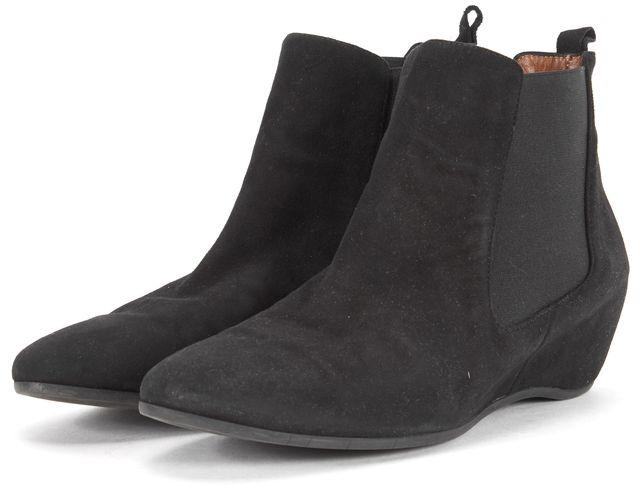 AQUATALIA Black Suede Flat Chelsea Ankle Boots