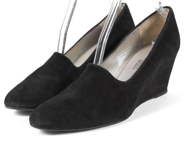 AQUATALIA Black Suede Loafer Wedges
