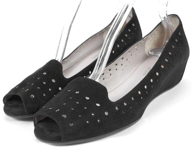 AQUATALIA Black Laser Cut Suede Peep Toe Wedges