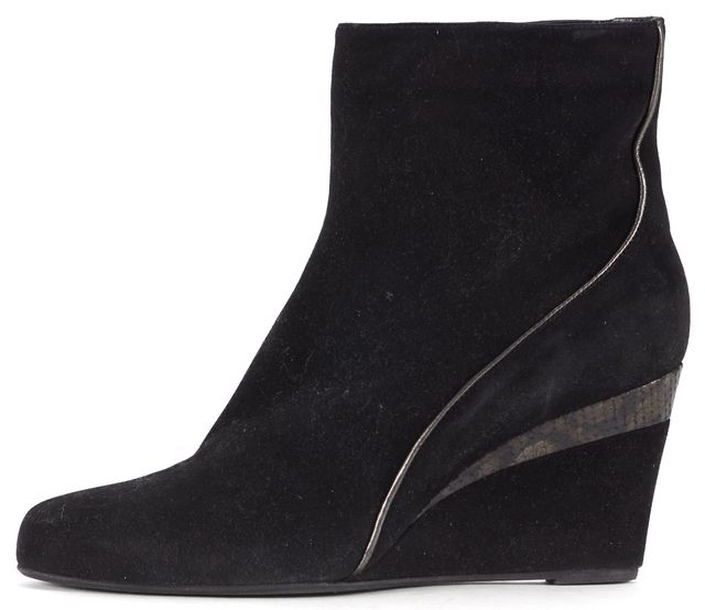 AQUATALIA Black Suede Snake Embossed Trim Wedged Ankle Boots