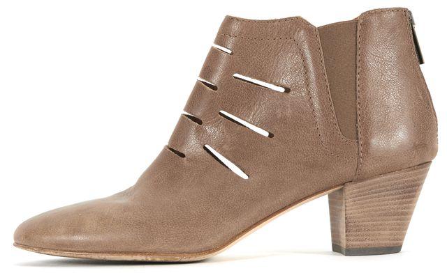 AQUATALIA Mushroom Beige Laser Cut Leather Freida Ankle Boots