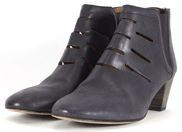 AQUATALIA Black Laser Cut Leather Freida Heeled Ankle Boots