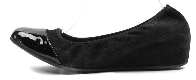 AQUATALIA Black Suede Patent Leather Cap Top Ballet Wedges
