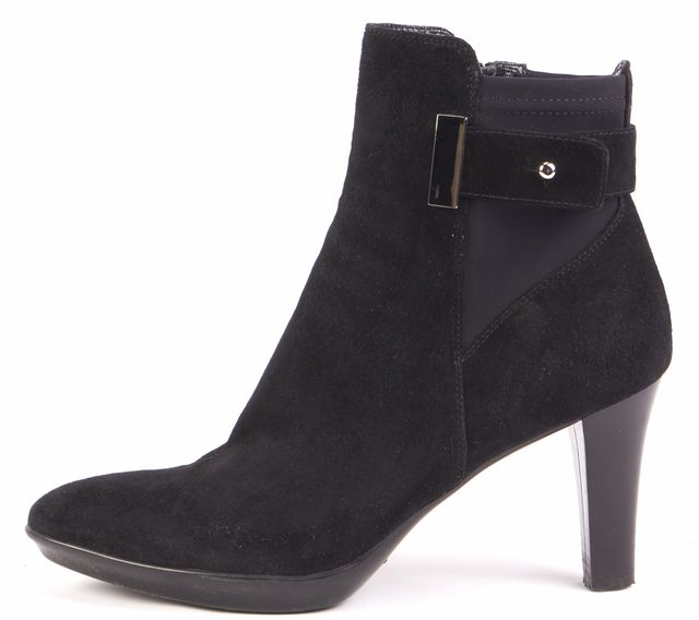 AQUATALIA Black Suede Leather Buckle Detailed Ankle Boot Boots