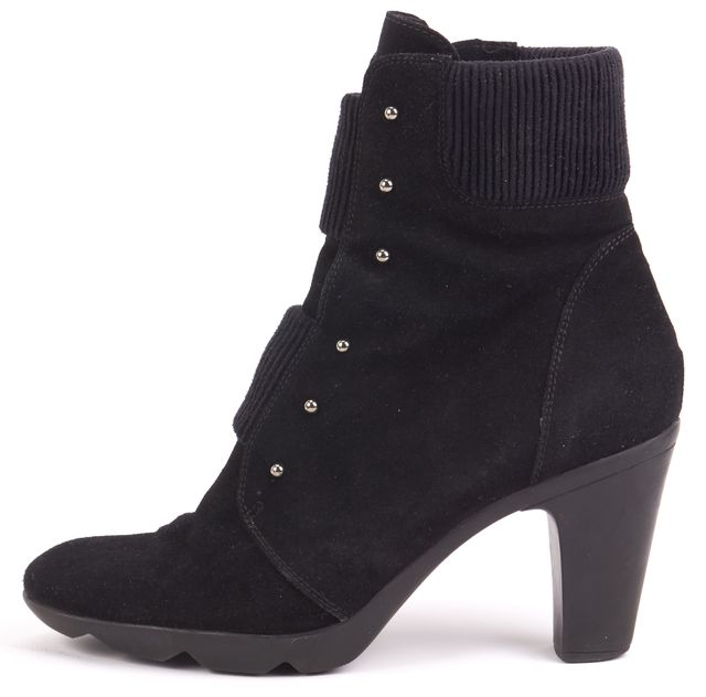 AQUATALIA Black Suede Leather Embellished Ankle Boot Boots