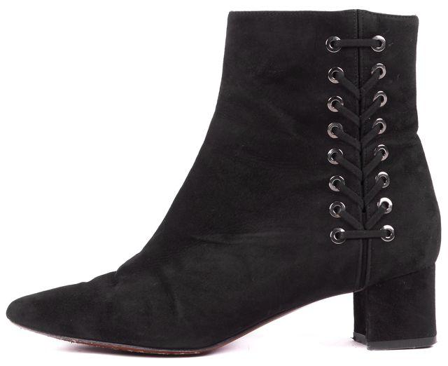AQUATALIA Black Suede Polina Lace-Up Bootie Size US 7.5 IT 37.5