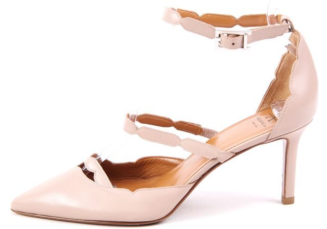 AQUATALIA Gray-Beige Leather Ankle Strap Pointed Toe Heels