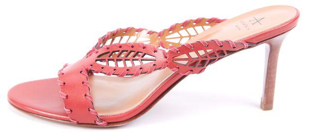 AQUATALIA Red Woven Leather Sandal Heels